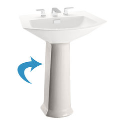 Toto - Toto PT960#03 Bone Soiree Pedestal Only - The Toto PT960#03 is a pedestal lavatory base only, in the Soiree suite from Toto USA. The Toto PT960#03 comes in bone finish
