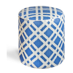 Fab Habitat - Dublin - Blue Pouf - Sleek and eco-chic, this rounded pouf is the perfect modern piece for your living room or boudoir. Hand crafted by artisans from recycled materials, this easy to clean cube comes in a sophisticated geometric pattern in your choice of colors.