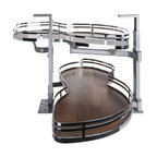 Hardware Resources - Blind Corner Swing Out  Right Handed Unit.  15 Opening - Blind Corner Swing Out  Right Handed Unit. Minimum 15 opening for Frameless or Face Frame Cabinets. Walnut textured solid non slip bottom shelves with Chrome edging  ships complete with installation instructions.