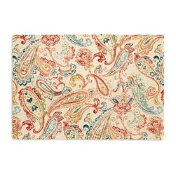 Red Multicolor Paisley Custom Placemat Set - Is your table looking sad and lonely? Give it a boost with a set of Simple Placemats. Customizable in hundreds of fabrics, you're sure to find the perfect set for daily dining or that fancy shindig. We love it in this classic multicolor paisley linen that plays nice with decor from traditional to eclectic.