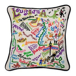 CATSTUDIO - Louisiana State Pillow by Catstudio - Celebrate the states! These pillows from Catstudio's Geography Collection are delightful keepsakes for remembering the hometown you grew up in or commemorating your favorite vacation spot. Embroidered entirely by hand (over 35 hours go into each one!) with black velvet piping, these make the perfect gift for all occasions! Removable cotton cover and polyfill pillow form. Cover is dry clean only.