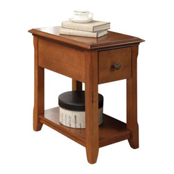 "ACMACM80296 - Corin Cherry Finish Wood Chair Side End Table with Drawer and Straight Legs - Corin cherry finish wood chair side end table with drawer and straight legs. Measures 14"" x 22"" x 23"" H. Some assembly required."
