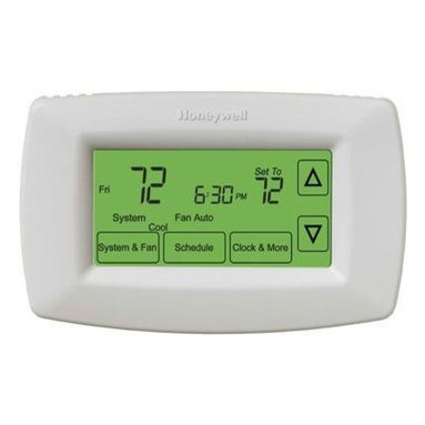 Honeywell Home - Programmable Thermostat Touch Screen - It's been proven that a programmable thermostat saves energy and money. This easy to read, large backlit display shows the current room temperature and your setting point. Change the settings up to four times a day to suit your particular lifestyle.