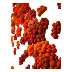 EcoFirstArt - Orange Jelly - Bring installation art to your very own wall with this innovative sculpture piece, which was carefully crafted from recycled sweaters. Imagine this piece crawling up the walls of your home or office, inspiring you with every glance.