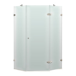 """VIGO Industries - VIGO 42 x 42 Frameless Neo-Angle 3/8"""" Shower, Frosted/Brushed Nickel, Right - VIGO's exquisite taste and superior quality is reflected in this totally frameless neo-angle shower enclosure"""