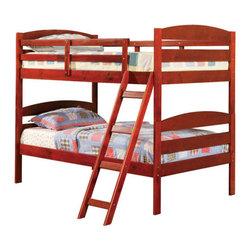 Acme Furniture - Erik Cherry Finish Wood Kids Twin Twin Bunk Bed for Teen - M540 - Cherry Finish