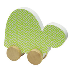 Studio BGD - Turtle on Wheels - Made of MDF wood with real Oak Wood unpainted wheels, this item is pretty enough to sit on a shelf and safe and functional enough to entertain your little one. With little hands in mind, the turtle is easy to hold and move.  The tiny trellis print in Sunny Lime is perfect for a modern nursery.  The gusset is a modern gray color.
