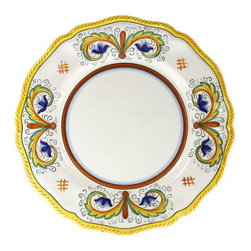 Artistica - Hand Made in Italy - Perugino Lite: Dinner Plate (Simple Decor - Sim) - Deruta Lite Dinnerware.