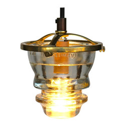Railroadware - Suspended Insulator Light LED Pendant Brass - Suspended Insulator Light LED Pendant 120V/3W dimming (Clear Insulator) with brass bracket is the perfect up-cycled lighting choice for that rustic or modern interior. Insulatorlights are regionally sourced, made in the USA meeting and all NEC Standards and can be tested & UL labeled if needed. The pendant comes ready to hang with state of the art 120V/3W LED bulb technology. The insulator is easily removed for cleaning etc.
