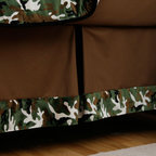 Green Camo Crib Skirt - Solid Chocolate Brown crib skirt with inverted pleat in Solid Black Minky, and 4-inch trim in Green Camouflage Minky.