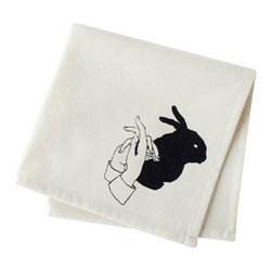 Ortolan Organic - Rabbit Shadow Napkin - Remember the innocent thrill of making shadow puppets? Ortolan's Rabbit Shadow napkins bring us right back to those childhood nights where we stayed up past bedtime to make mystical creatures appear on the walls with nothing but our tiny hands and a flashlight.