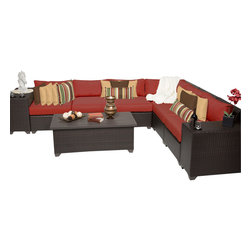 TKC - Bermuda 9 Piece Outdoor Wicker Patio Furniture Set 09b 2 for 1 Cover Set - Sink into the plush Cushions comfortably fitted between our Bermuda's curved arms. Espresso-colored all-weather rattan is expertly hand woven, wrapping every inch of the durable aluminum frame. Sturdy rust-resistant powder coated feet are color matched to Table Tops. Thick all-weather Cushions are enveloped in 2-year fade resistant acrylic upholstery.