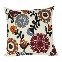 Design Accents Joy Pillow - Multi - There's nothing more joyful than a bright, vibrant bouquet. This Design Accents Joy Pillow - Multi brings that joy home. A durable cotton cover ensures lasting beauty. The chain-stitched floral embroidery pattern features a rich palette of red and brown. Sure to give a stunning look to your sofa, chair, or bed.