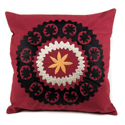 "de-cor - Psychedelic Canvas Suzani, Burgundy Red - The psychedelic Suzani Pillow is a beautiful addition to any living space. Suzani in Persian means ""needle work"" and the cotton based square Suzani features intricate embroidery with silk threading."