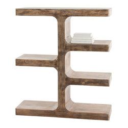 Arteriors - Kai Bookshelf - Solid wood planks finished in a new tobacco wash have been formed to create this curvaceous wall unit which looks great floating in a space or flush against a wall.