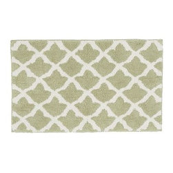 "Marlo Jacquard Bath Rug, 21 x 34"", Sage Green - A Moroccan tile motif lets our rug mix easily with both patterned and solid towels. It's loomed from cotton for softness, and is slip resistant. 21"" wide x 34"" long Made of 100% cotton. Yarn dyed for vibrant, lasting color. Backed with cotton canvas adhered with synthetic latex. Machine wash. Imported."