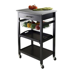 Winsome - Winsome Julia Utility Cart in Black - Winsome - Kitchen Carts - 20322 - On wheels the cart has an easy-clean granite top with a drawer beneath it. A wire basket drawer is under the top drawer followed by a shelf that doubles as a removable tray. On the very bottom is a stationary shelf.