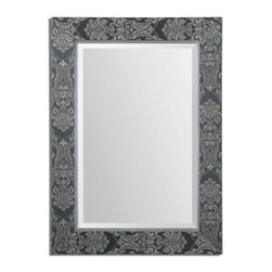 """Uttermost - Celestine Dark Gray Mirror - Frame features a dark, slate gray background with metallic silver details. Mirror has a generous 1 1/4"""" bevel. May be hung horizontal or vertical."""