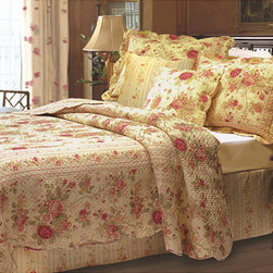 None - Antique Rose 5-piece Quilt Bonus Set - Deep ecru fabric features garden roses in rich red and gold hues, and a coordinating striped fabric frames the face of the quilt and shams. The striped fabric is also used for the back to make this spread truly reversible.