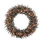 "Vickerman - Chocolate Wreath 50CL (30"") - 30"" Chocolate Wreath 940 PVC Tips 50 Clear Mini Lights"