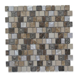 "GlassTileStore - Lotus Sundial Glass and Stone Tile - Lotus Sundail Glass and Stone Tile          With the combination of pearl, stone, and decos this tile is great to use as a back splash, or any decorated spot in your home.          Chip Size: 1x1, 1""x 3/4""   Color: Crema Marfil,Dark and Light Emperador, White, Pewter   Material: Stone, Pearl and  Metal Decos   Finish: Polished   Sold by the Sheet - each sheet measures 12""x12"" (1 sq. ft.)   Thickness: 8mm   Please note each lot will vary from the next.            - Glass Tile -"