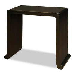 China Furniture and Arts - Elmwood Ming Console Table - This Ming Dynasty scholar table was once an important fixture in provincial Chinese schoolhouse. This table is handcrafted of Elmwood for long lasting durability. Perfect for hallway or foyer. Hand rubbed rich dark brown finish. Fully assembled.