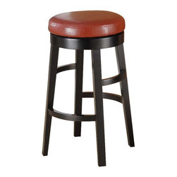 Armen Living - Armen Living Halo Backless Bar Stool - Red - 30 in. - LC4050BARE30 - Shop for Stools from Hayneedle.com! The Armen Living Halo Backless Swivel Bar Stool in Red is a simple design with all the style you are looking for. Base and legs are wood with a black finish. Round swivel seat has red bicast leather upholstery. Thick circular footrest plus feet protectors for your floor. Stool dimensions: 20W x 20 x 30H inches seat height: 30 inches. About Armen LivingImagine furniture without limits - youthful robust refined exuding self-expression at every angle. These are the tenets Armen Living's designers abide by when creating their modern furniture collections. Building on more than 30 years of industry experience Armen Living combines functional versatility and expert craftsmanship into their dramatic furniture styles all offered at price points fit for discriminating budgets. Product categories include bar stools club chairs dining tables ottomans sofas and more. Armen Living is based in Sun Valley Calif.