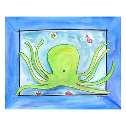 Oh How Cute Kids by Serena Bowman - Octopus, Ready To Hang Canvas Kid's Wall Decor, 24 X 30 - Each kid is unique in his/her own way, so why shouldn't their wall decor be as well! With our extensive selection of canvas wall art for kids, from princesses to spaceships, from cowboys to traveling girls, we'll help you find that perfect piece for your special one.  Or you can fill the entire room with our imaginative art; every canvas is part of a coordinated series, an easy way to provide a complete and unified look for any room.