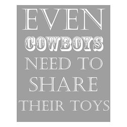 Oh How Cute Kids by Serena Bowman - Cowboys Share, Ready To Hang Canvas Kid's Wall Decor, 8 X 10 - Each kid is unique in his/her own way, so why shouldn't their wall decor be as well! With our extensive selection of canvas wall art for kids, from princesses to spaceships, from cowboys to traveling girls, we'll help you find that perfect piece for your special one.  Or you can fill the entire room with our imaginative art; every canvas is part of a coordinated series, an easy way to provide a complete and unified look for any room.