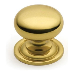 Cliffside Industries 158-PB Cabinet Knob - Artisan Series - Polished Brass Finis - This polished brass finish cabinet knob with smooth round knob and large base is part of the artisan suite hardware collection from Cliffside Industries and is a perfect blend of craftsmanship in traditional and contemporary design to complement any decor.
