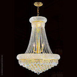 Worldwide Lighting Empire Chandelier W83035G24 - Worldwide Lighting Empire Collection 14 light Gold Finish and Clear Crystal Chandelier