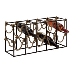 Benzara - Beautiful and Unique Inspired Style Metal Rope Wine Rack Home Decor - Description: