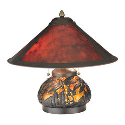 "Meyda Tiffany - 15.5""H Van Erp Amber Mica Lighted Base Table Lamp - In the tradition of American master craftsman Dirk Van Erp, this appealing hand painted Dark Bronze frame glows with the warmth of the natural Amber mica panels within. The shade is supported by a mottled amber blown glass table lamp base with an intricate overplayed filigree of dragonflies in a matching Dark Bronze painted finish."