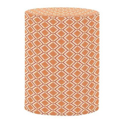 Howard Elliott Geo Tangerine Tall Cylinder Ottoman - The Tall Cylinder is constructed with a dense light-weight foam and then topped off by a soft, high quality foam making it sturdy yet comfortable. Its unique design allows weight to be distributed evenly keeping it from tipping like most foam ottomans. Another bonus? This piece is indoor/outdoor so you can take it outside!