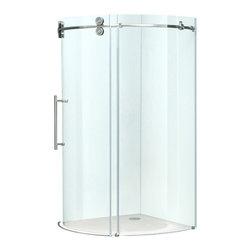 "VIGO Industries - VIGO 40x40 Frameless Round 5/16"" Steel Shower Enclosure - Make your bathroom an oasis with a VIGO frameless round shower enclosure."