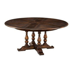 "Sarreid Ltd - Ebony Walnut Jupe Medium Dining Table - There is something very comfortable about a round dining table. Conversation and passing of savory dishes flows with ease. This gorgeous and very practical solid walnut Jupe Dining Table is stained with a warm ebony hue and can expand larger from its original size. Available in two sizes (SAR) Medium - Open: 70"" diameter x 30"" high Closed: 54"" diameter x 30"" high Large - Open: 84"" diameter x 30"" high Closed: 64"" diameter x 30"" high"