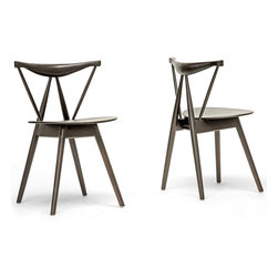 Baxton Studio - Mercer Brown Wood Modern Dining Chairs (Set of 2) - This petite Mercer Modern Dining Chair has a lot of character for such a small seat. The wooden dowels work their angles as they criss-cross diagonally along the backrest and down to the floor.