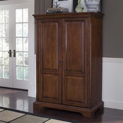 Riverside Furniture - Cantata Armoire Desk - A celebration of the classic office style loaded with function for today's home office. Use each piece alone or as a part of a coordinated home office collection. Features: -Computer armoire.-All drawers (except two small ones) are constructed with dovetail joinery.-Center/bottom file drawer is mounted on ball-bearing extension guides.-Two full-length doors are double-hinged to open flush with sides of cabinet for convenient access to all the interior features.-Top section features three open storage areas with a fixed shelf in each area and a task light mounted underneath on a pull-out shelf.-Center monitor area features a fixed shelf and a small storage area with power control bar.-One pullout work surface shelf and one separate keyboard pullout shelf mounted beneath it.-Lower left hand side contains one adjustable and one fixed shelf.-Lower right hand side contains two small storage drawers and one small file drawer which accommodates either letter or legal hanging folders.-Wiring access holes located in back panel.-Constructed of poplar hardwood solids, cherry and birch veneers.-Cantata collection.-For more information on this product please view the Sheet(s) below:.-Distressed: Yes.-Collection: Cantata.Dimensions: -Overall Product Weight: 336 lbs.