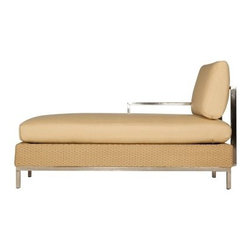 Lloyd Flanders Elements All-Weather Wicker Right Arm Chaise Lounge - In your own backyard, you deserve to feel divine, and there's no better way to do that than reclining on a Lloyd Flanders Elements All-Weather Wicker Right Arm Chaise Lounge. This style of chair is known to date back to the ancient Egyptian civilizations, a people known for their superior architecture and innovative designs. This chaise, by Lloyd Flanders, has a strong architectural presence as well, with it its long clean lines and angles. This take on architectural construction brings these lounges from antiquity square into the age modernist and contemporary design. While the textures of soft resin wicker and hard stainless steel create an impressive visual effect, they also work together to produce a thoroughly comforting and substantial seat.Sink back into the Comfort Plush cushions that come standard with the Elements collection by Lloyd Flanders. As you release the weight of your cares and concerns, these cushions will support you with their internal spring bond premium core with dense foam and special polyester fiber that ensure total relaxation. Wrapped around this high-quality core is a polypropylene jacket of spun-bond fabric that sandwiches an inner meltblown-fabric layer, making these cushions water proof - an absolute must for any outdoor furniture. The quality materials and construction also mean that these cushions are inherently mildew and bacteria resistant. And to guarantee that they fit with your tastes and decor, they come in a wide variety of colors and patterns that you're sure to love.The attractive frames of the Element collection by Lloyd Flanders highlight the simplicity of contemporary design by using clean lines and smart, strong materials such as stainless steel and resin wicker. This provides peace of mind in knowing that these chairs won't fade, warp, splinter, or rot even when left outside year round. The resin wicker is hand crafted using 100 percent virgin vinyl w