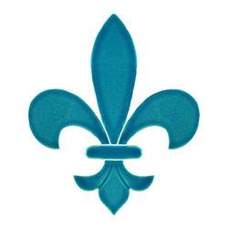 "Glass Tile Oasis - Fleur de Lis Pool Accents Green Pool Glossy Ceramic - Sheet size: 6"""