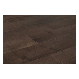 """Vanier - Vanier Engineered Hardwood - Penta Maple Collection - [23.7 sq ft/box] - Maple Charcoal / Maple / 5"""" -  The universally appealing look of genuine maple wood flooring, with minimal color variation and signature flowing grain patterns are yours in a state of the art engineered floor. Easy to install, and compatible with radiant heat, the Penta Maple Collection opens up the possibilities for look and performance.    Designed for optimum board stability, each selection in the Penta Maple Collection also features a generously above average 5mm thick top layer of real wood. This means that you can gain those visual benefits in nearly every room in your space that maintains moderate temperature and moisture levels.    Innovative design and classic visual effects     Each option in the collection is designed for long-life. Every board is treated with 7 coats of aluminum oxide finish to guard against abrasion and denting. This is to support a species of wood that is known for its stability and reliable surface hardness on its own. Additionally, each board is designed to thrive in controlled environments whether they're below grade, on-grade, or above grade.     This collection allows you to get that feel of a solid wood floor under your feet as well. This is in part to do with the extra thickness of the top layer. The sturdy and substantial design of the boards as a whole makes it easy to create transitions from one room to another, both in terms of dimensions as well as visual effects. The look of real maple surfaces are set to help you create the visual flow, and the reliable performance you're looking for.     The best in maple engineered flooring at the best price    Our manufacturing partners continue to push the design of 21st century wood flooring forward. With this collection of high-quality maple engineered flooring, you get the benefit of a sought-after appearance in maple floors. And you get the long-term performance that comes about through innovative de"""