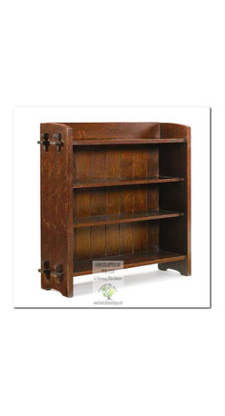 """Mission Bookcases - FEATURES and CONSTRUCTION DETAILS:  Pieces featured in the HISTORIC LEGEND Collection are made to be identical to the original antique in both style and construction.  As an exact replica, every detail of this Bookcase is painstakingly reproduced to replicate the original; """"Identical Pattern"""", """"Identical Wood"""" (Solid Quarter-sawn White Oak), """"Identical """"Arts and Crafts"""" hand-craftsman techniques"""", and """"Identical Hardware"""" (Custom created hand hammered).  The only difference is in our finishing process which is an eco friendly 16-Step Hand Rubbed stain process which closer matches the original.  We do not do Ammonia fuming for environmental reasons and the health of our craftspeople, however, we will accommodate you by sending it out to a qualified finishing shop that specializes in Ammonia fuming if this is important to you."""