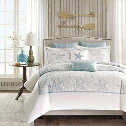 Harbor House - Harbor House Maya Bay Duvet Cover Mini Set - Bring the ocean into your home with the Harbor House Maya Bay Collection. A soft seafoam blue is the accent color used in this beach themed duvet cover and shams playing up the seashell and sand dollar embroidery. Made from 200 thread count cotton, this calming collection allows you to escape from reality in your own home. Duvet & Sham: 200TC 100% cotton with all over embroidery, 200TC 100% cotton solid reverse