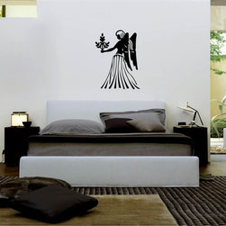 StickONmania - Angel with Flowers Sticker - A cool vinyl decal wall art decoration for your home  Decorate your home with original vinyl decals made to order in our shop located in the USA. We only use the best equipment and materials to guarantee the everlasting quality of each vinyl sticker. Our original wall art design stickers are easy to apply on most flat surfaces, including slightly textured walls, windows, mirrors, or any smooth surface. Some wall decals may come in multiple pieces due to the size of the design, different sizes of most of our vinyl stickers are available, please message us for a quote. Interior wall decor stickers come with a MATTE finish that is easier to remove from painted surfaces but Exterior stickers for cars,  bathrooms and refrigerators come with a stickier GLOSSY finish that can also be used for exterior purposes. We DO NOT recommend using glossy finish stickers on walls. All of our Vinyl wall decals are removable but not re-positionable, simply peel and stick, no glue or chemicals needed. Our decals always come with instructions and if you order from Houzz we will always add a small thank you gift.