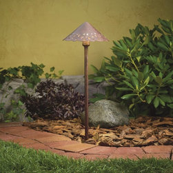 LANDSCAPE - LANDSCAPE LED Cast Alum Hammered Roof Path Light X-TZT17851 - The unique look of this Kichler Lighting outdoor path light is complimented by the subtle undulating tones of the Textured Tannery Bronze finish. Hammered accents paired with pierced accents and a scalloped edge give it a shabby chic cottage feel.