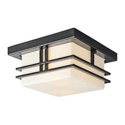 Kichler - Kichler 49206BK Modern Two Light Outdoor Flush Mount Ceiling Fixture - Tremillo - Kichler 49206 Tremillo Outdoor Ceiling Light