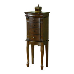 Powell - Powell Louis Philippe Walnut Jewelry Armoire with Queen Anne Legs - Sort,store and organize your jewelry with this attractive Louis Philippe jewelry armoire. This walnut-finished piece stands free and features multiple drawers,so you can easily separate your rings,bracelets and other jewelry pieces.