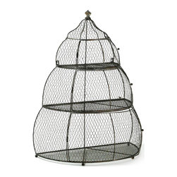 "Kathy Kuo Home - French Country Three Tier Iron Bird Cage 31""H Plant Holder - Make room for more plants in your home with the Iron Birdcage Plant Holder.  Made of iron with French mesh detailing, it is durable and versatile enough for a range of interiors.  Small feet allow it to function as a stand while hanging keyholes allow it to be wall-mounted.  Doors swing open to access each of the three tiers, allowing for easy care while keeping plants contained and safe in a French country style."