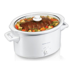 HamiltonBeach - 8-Quart Slow Cooker - Perfect for large meals. Fits large roast, chicken or turkey breast. Perfect size for leftovers to enjoy now or freeze for later. Perfect size for 6-pound roast or an 8-pound chicken. Lid Latch strap holds the lid in place. Dishwasher safe stoneware and tempered glass lid. Warranty: One year limitedThe 8-Quart Slow Cooker provides home-cooking without the fuss and is essential for cooking hot, delicious meals without dinnertime stress. The easy-to-use slow cooker saves time and energy by making flavorful foods while you go about your routine, without the nonstop attention and extensive preparation that's often needed for traditional cooking. Choose the setting that's right for the recipe, add ingredients and go. When cooking is complete, the keep-warm feature will maintain the ideal temperature until ready to eat.