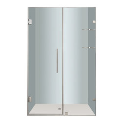 """Aston - Aston Nautis GS 44x72, Completely Frameless Hinged Shower Door, Chrome - Utility meets luxury with the Nautis GS completely frameless hinged swinging shower door. Available in a multitude of dimensions - from 36"""" to 60"""" in width (72"""" height) - the Nautis GS consists of a fixed glass panel with a built-in two-tier shelf storage system and a hinged swinging glass door panel. All Nautis GS models feature 10mm ANSI-certified clear tempered glass, stainless steel or chrome finish hardware, self-closing hinges, premium leak-seal clear strips and is engineered for reversible left or right hand installation. Includes a 5 year limited warranty; base not included."""